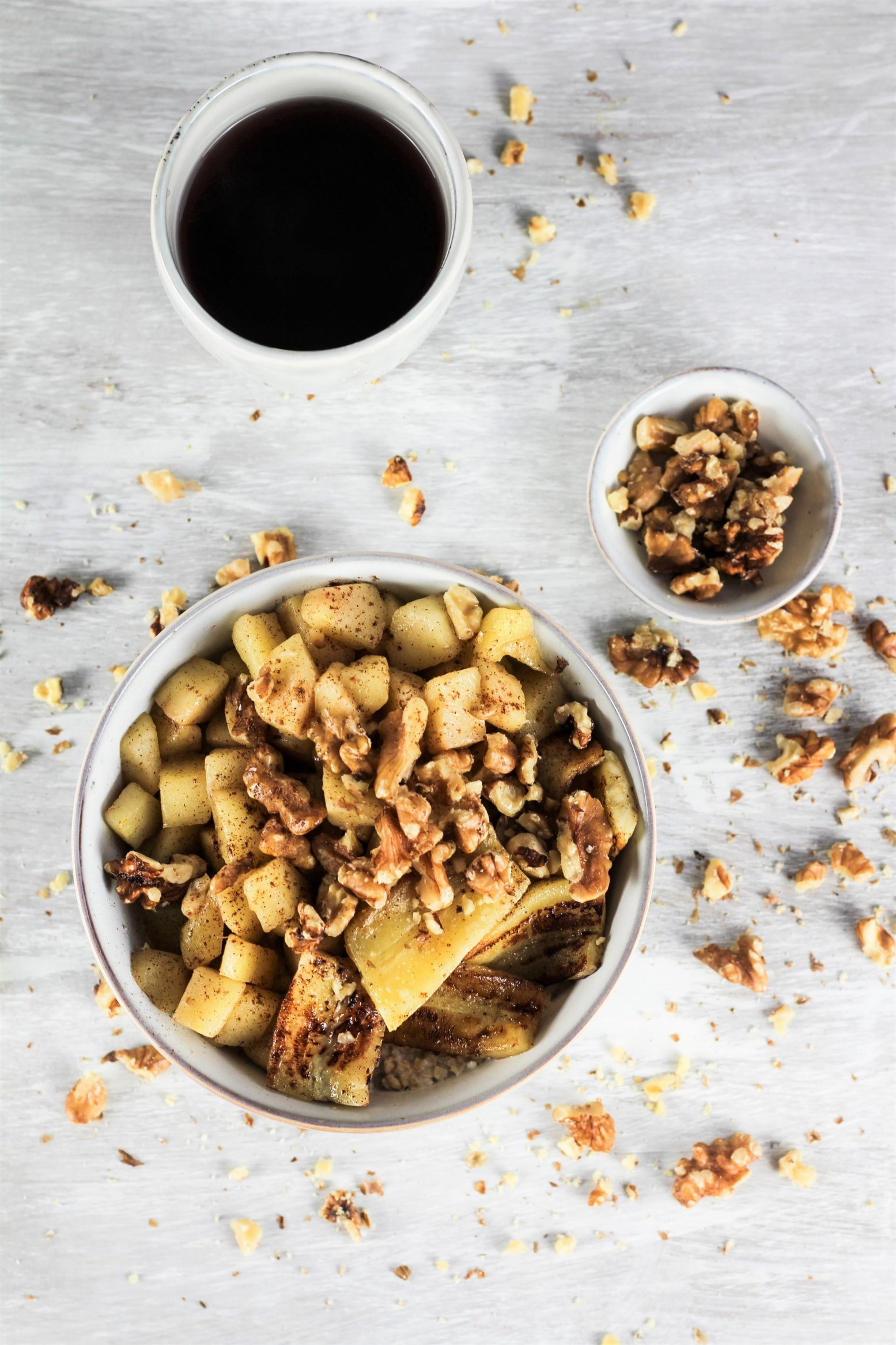 Cremiges Porridge mit gebratenen Äpfel und Bananen