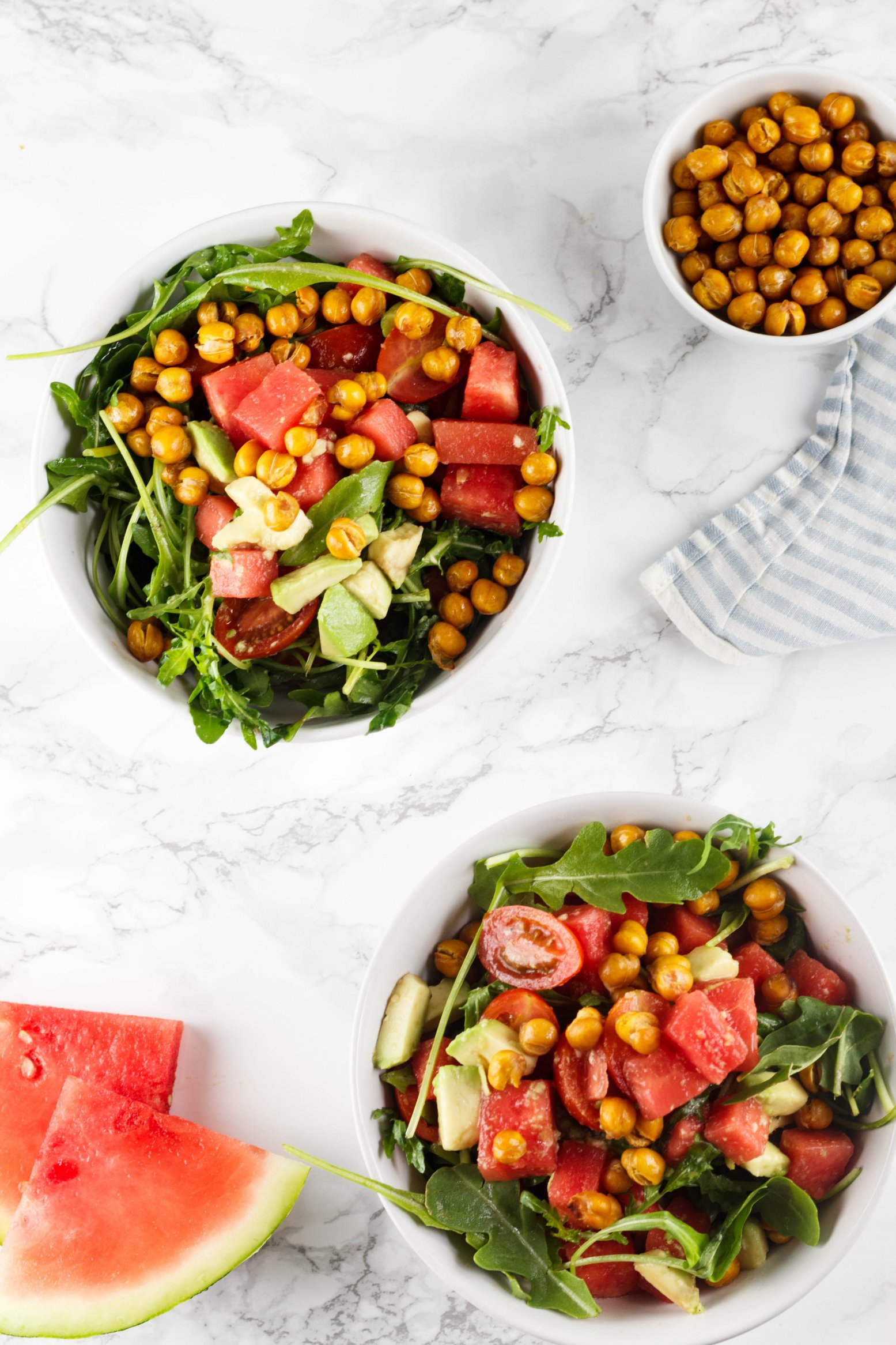 Wassermelonensalat vegan mit Kichererbsen