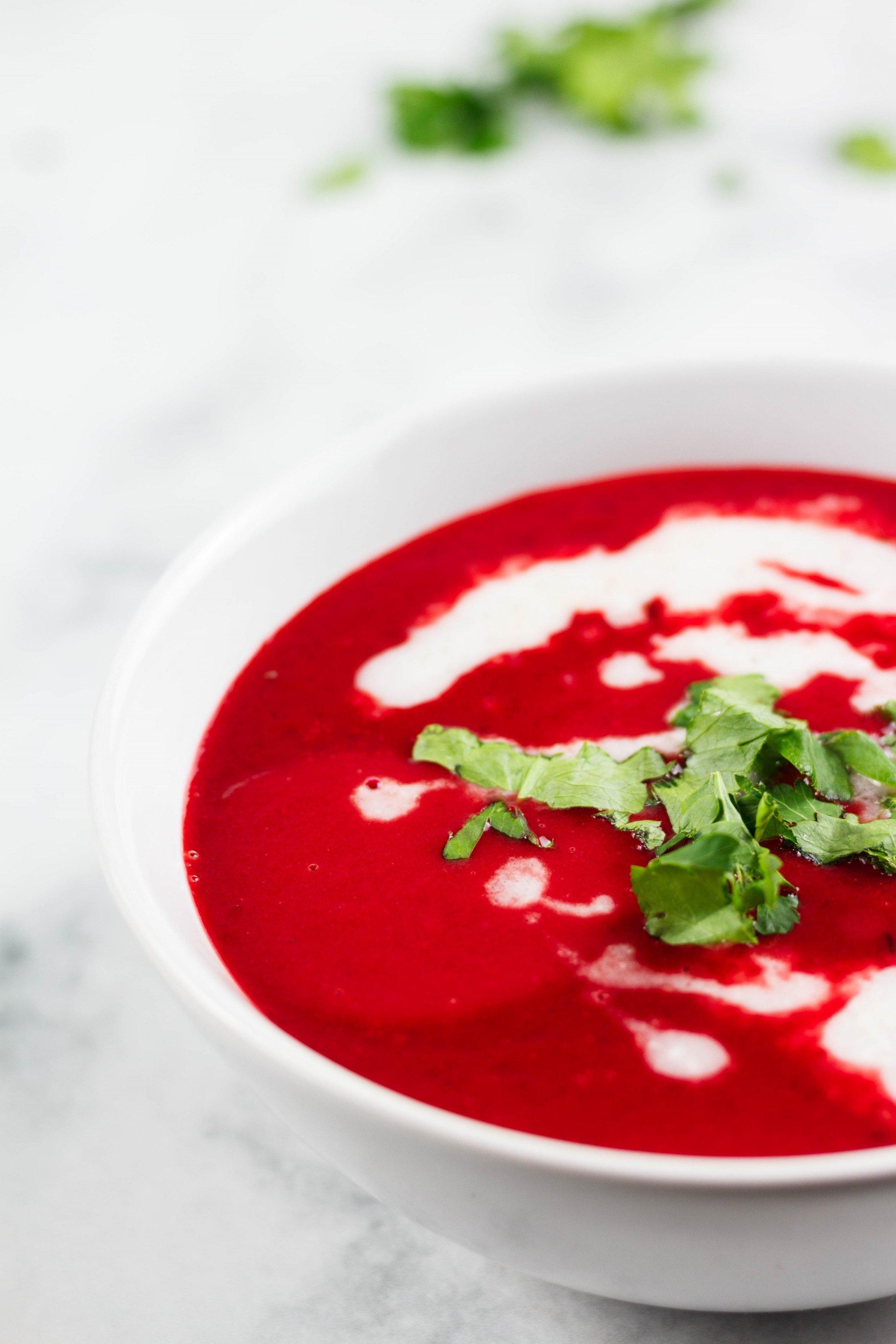 vegane rote Bete suppe mit Kokos zuckerfrei