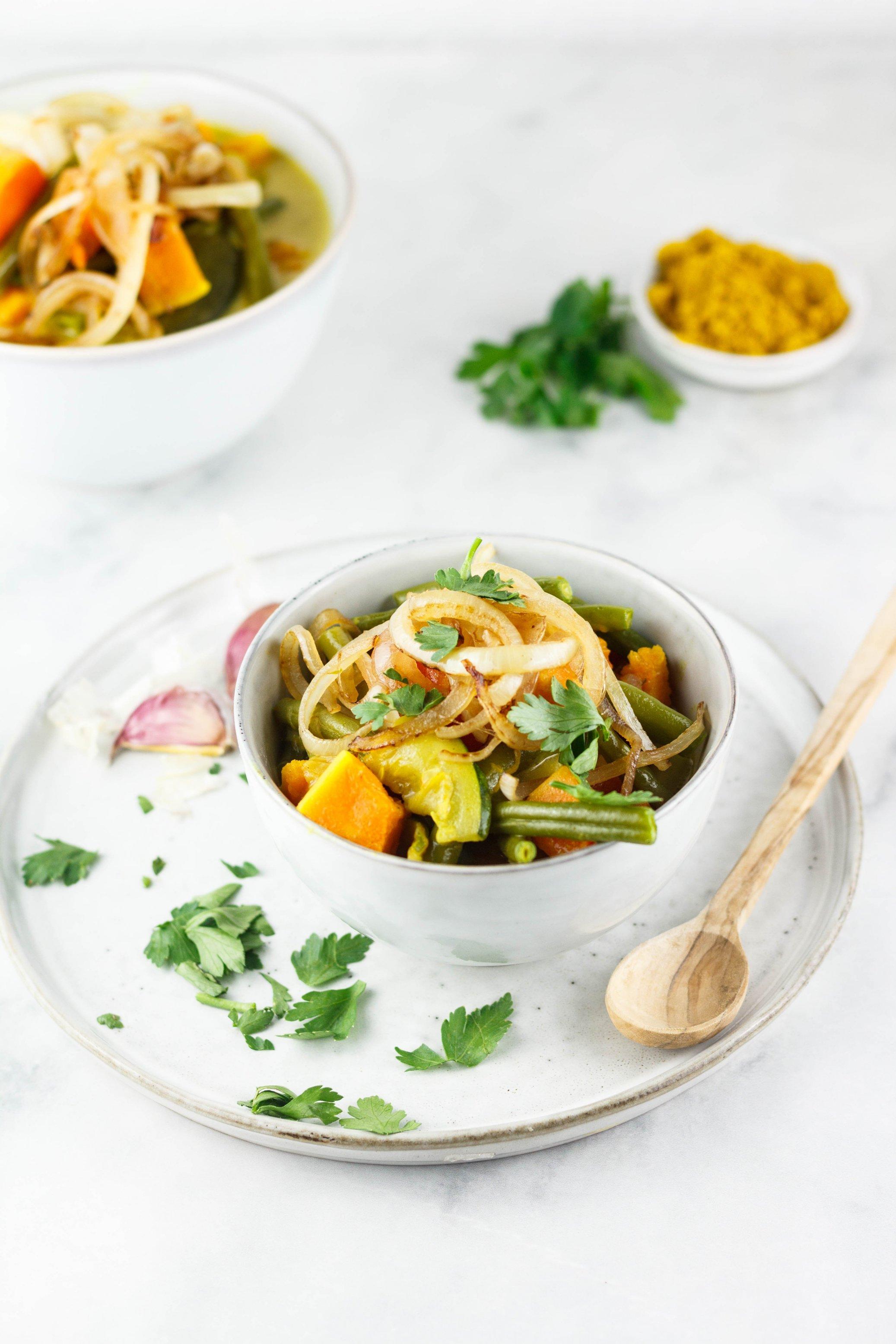 Veganes Kürbis-Curry mit Buschbohnen
