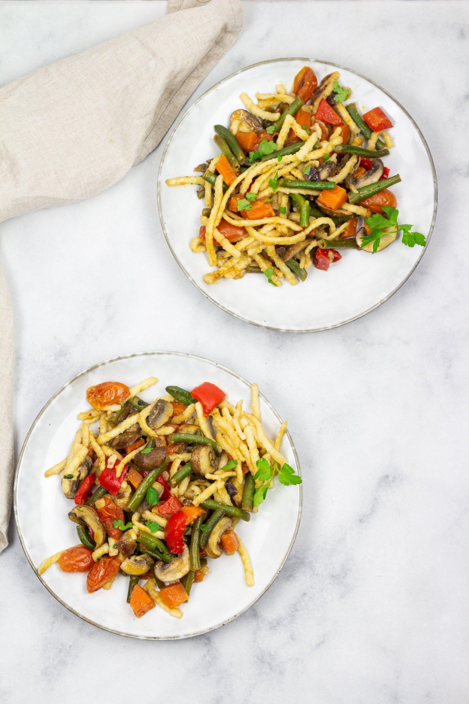 Vegane Spätzle Gemüse Pfanne Rezept